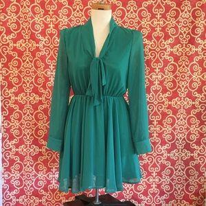 Emerald Green Tie Neck Dress